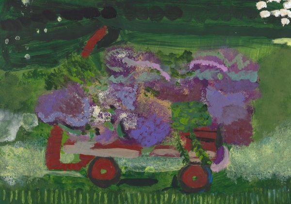 EH Wagon of Flowers 9×12 acrylic $45 9-17