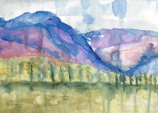 KS Purple Mountains 9×12 watercolor $50 4-17