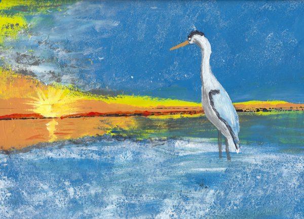 RE Sunset Off the Coast 9×12 acrylic $45 9-18