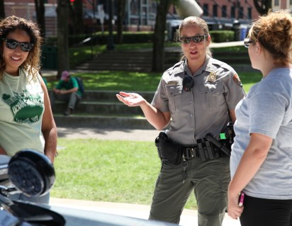 Lowell National Historical Park ranger Traci answered questions about law enforcement in the national parks