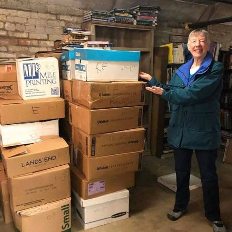Linda Prout with LOTS of books!