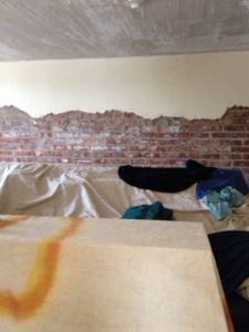 Exposed brick for the art room