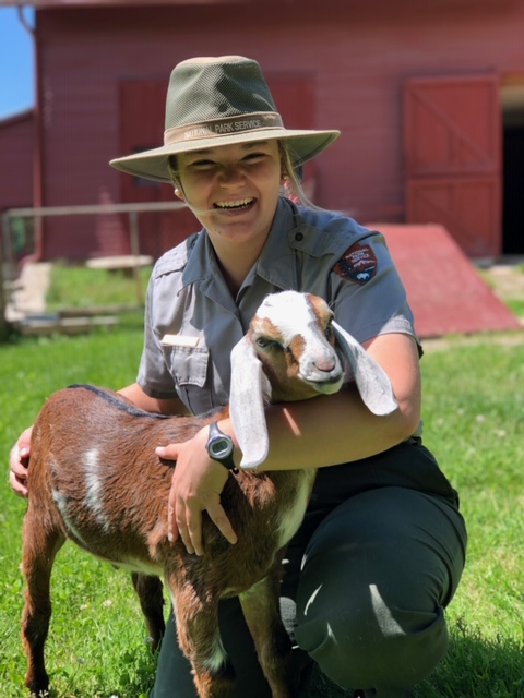 Carl Sandburg National Historic Site Ranger Lisa and Coffee the goat