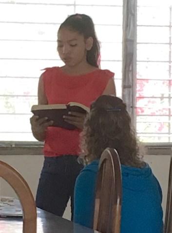 Abigail reading Scripture