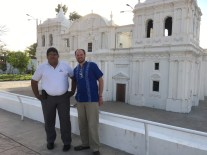 Paulino and I in front of one of Leon's most famous cathedrals. In 2015, I visited its roof with a group from PCHS