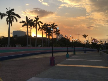 The sun sets over Managua