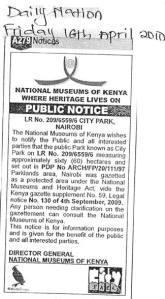Public notice in Daily Nation 16 Apr '13