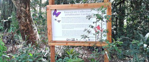 Signboard at entry to Pollinator Garden