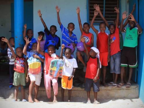 children received soccer balls from miami shores presbyterian church
