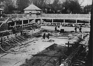 Peterborough Lido during construction in 1937.
