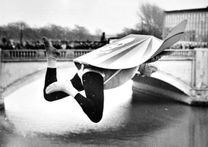 Lifeguard Walter Cornelius attempting to 'fly' oner the Nene. One of his many charity stunts.
