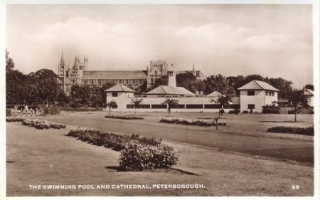 Early Postcard of the lido in it's garden setting with the Cathedral in the background.
