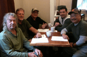 First meeting of Friends of Purdon: (l to r)Gary Tufts, Gary Wright, Jude Bischoff, Mark Keicher, Tad Kitada