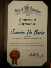 Certificate of Appreciation from the City of Los Angeles, Mike Bonin for Jasmine De Baris, Silver Medalist