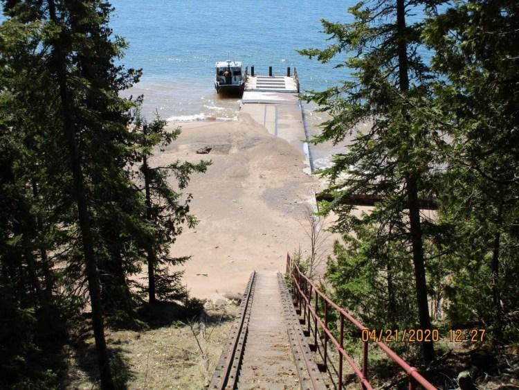 Michigan Island dock debris