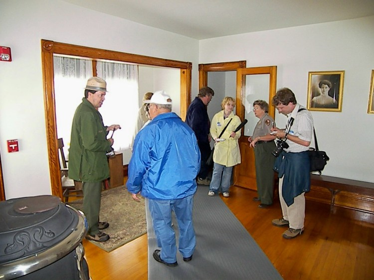 Jim talking with visitors at the grand reopening of the Raspberry Island Light in June 2007