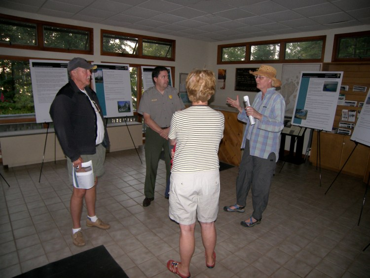Jim discusses the park's general management plan with visitors at Stockton Island