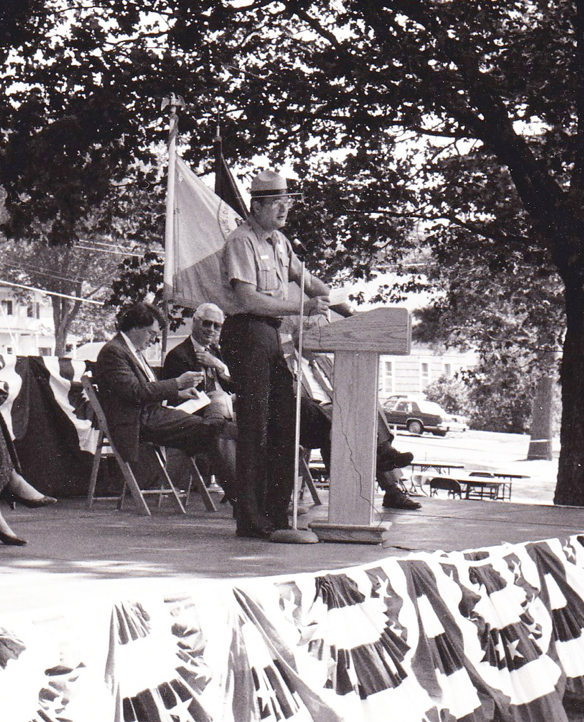 Jerry speaking at the celebration of the 200th anniversary of the U.S. Lighthouse Establishment in 1989.