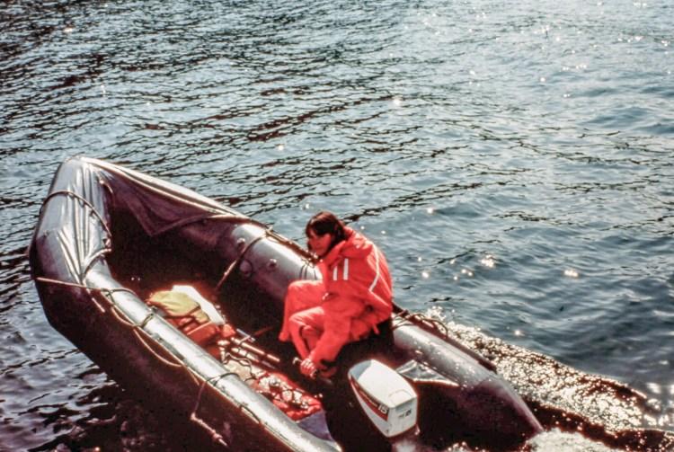 Lydia Ferraro operating a zodiac raft