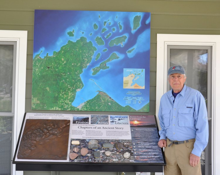 Neil and one of the new exhibits at Little Sand Bay
