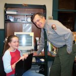 """Sophie with her dad on """"take your daughter to work"""" day"""
