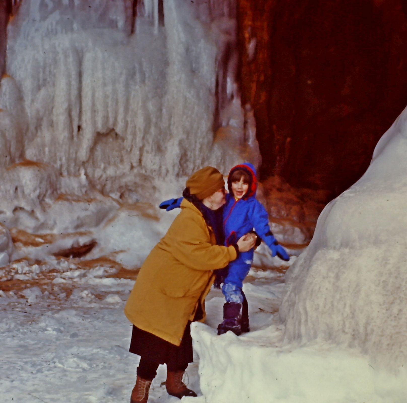 Susan and Forrest at the mainland ice caves (baby Sophie is inside Susan's coat)
