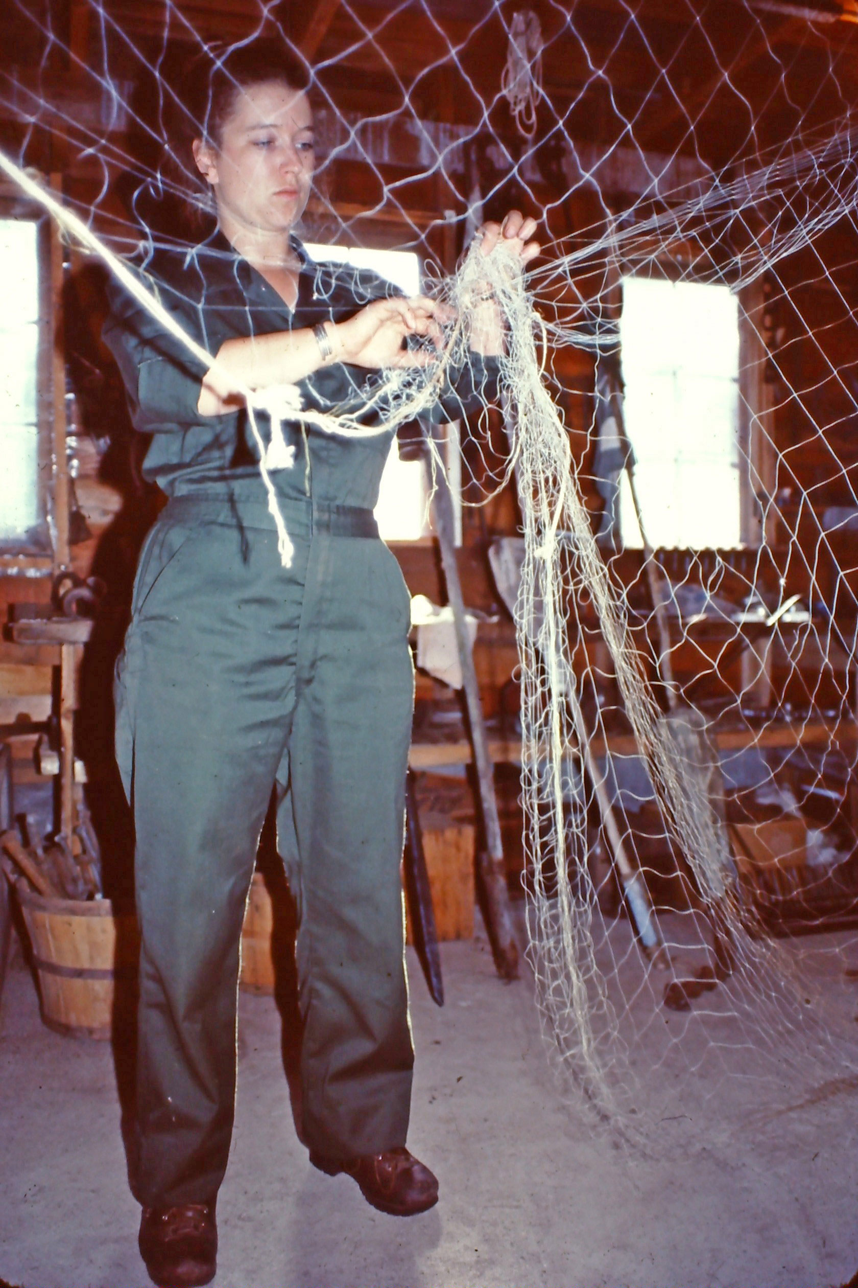 Susan working with gill net in the Hokenson Fishery