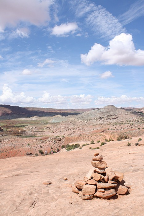 cairn on trail to Delicate Arch