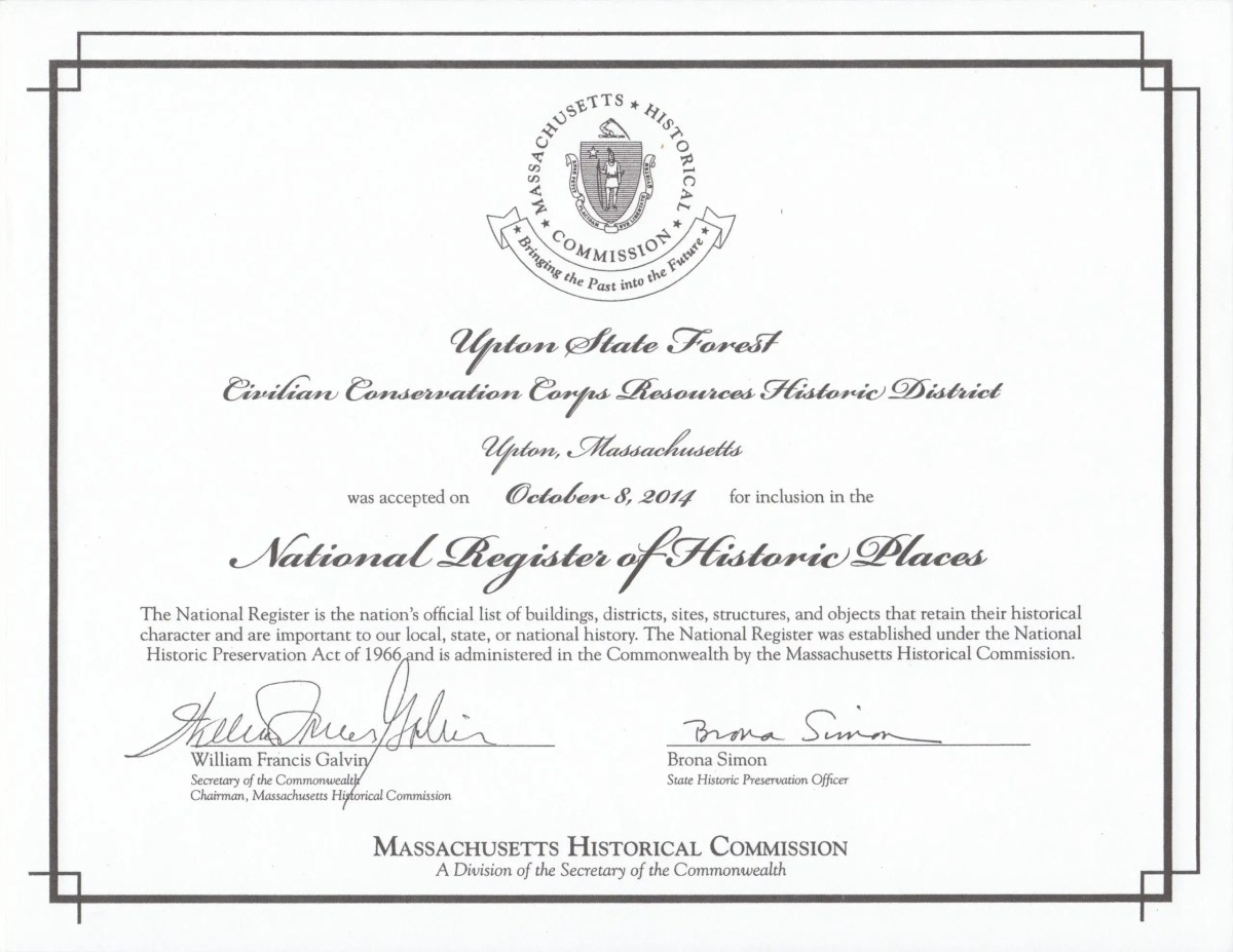 CCC Certificate for National Registry of Historical Places
