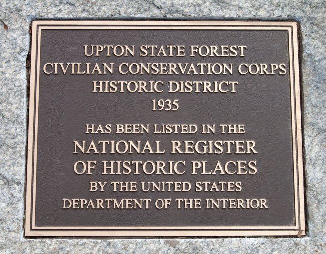 Upton State Forest Civilian Conservation Corps National Registrar of Historic Places Plaque