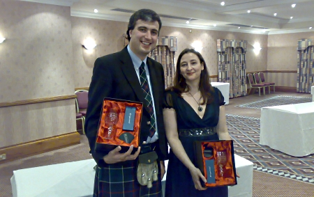Henry and Sarah pick up their awards at the National Hillrally Championship dinner