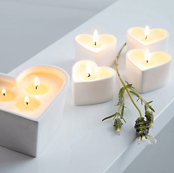 White Company Ceramic heart tealights - £18