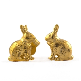 Alex Monroe Sitting Bunny Stud Earrings - £108