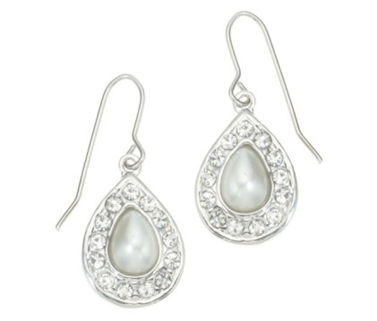 Pearl and crystal tiny teardrop earrings - £4
