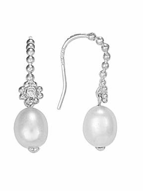 Blossom Rhodium plated Fresh water pearl CZ drop earrings - £105
