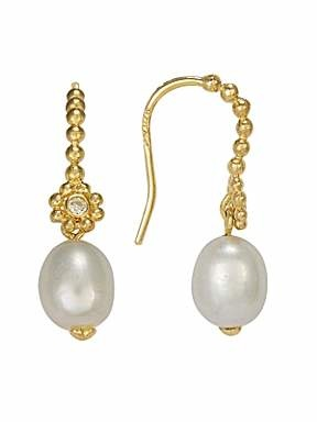 Blossom Gold plated Fresh water pearl CZ drop earrings