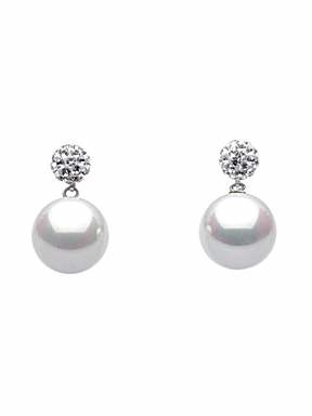 Dew Shell pearl and crystal stud earrings