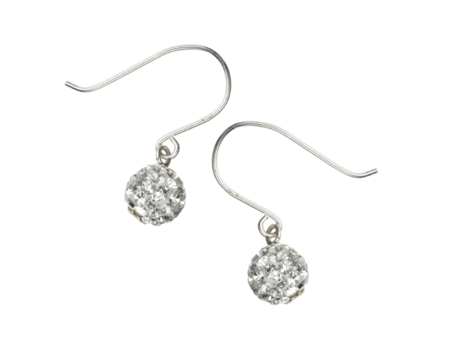 Sterling silver pave ball short drop earrings - £8