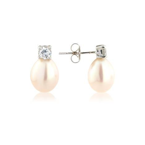 Crystal & white teardrop pearl earrings - £52