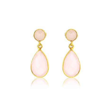 Round & teardrop pale pink chalcedony & gold vermeil earrings - £96