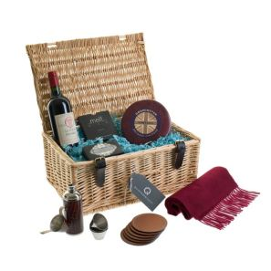 Quintessentially Gifts' Fine Vintage hamper includes fine wine, cashmere scarf, leather coasters, chocolate, flask and lots more - £250
