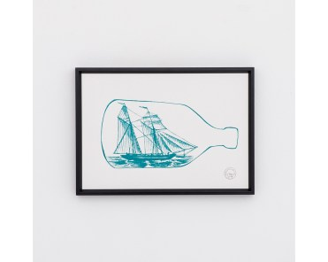 A4 Thornback and Peel Ship & bottle print - £35