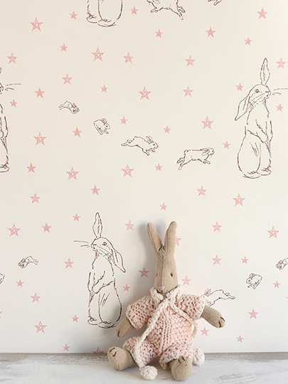 Peony & Sage Rabbit All Star wallpaper with pink stars