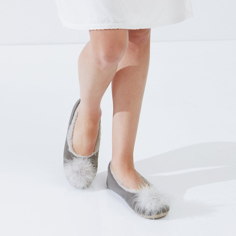 White Company velvet slippers