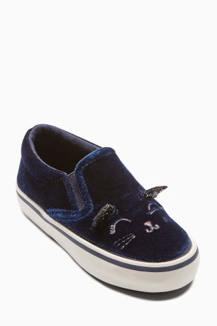 Next navy velvet cat trainers