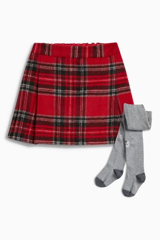 Next red check skirt and grey tights set