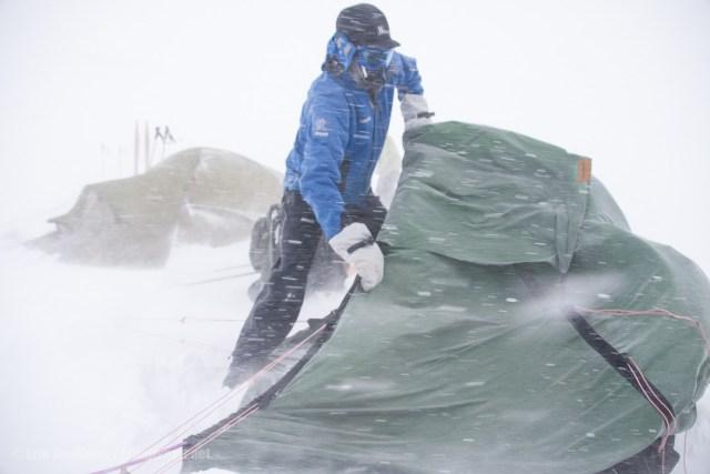 Sette opp telt i vind og snø