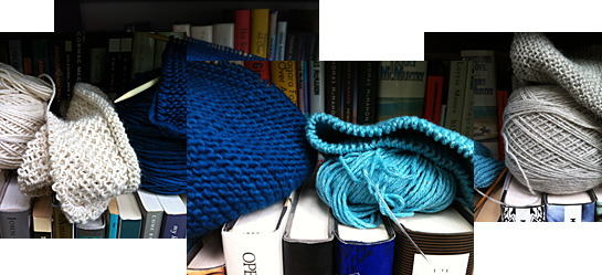 knitting WIPs on shelf
