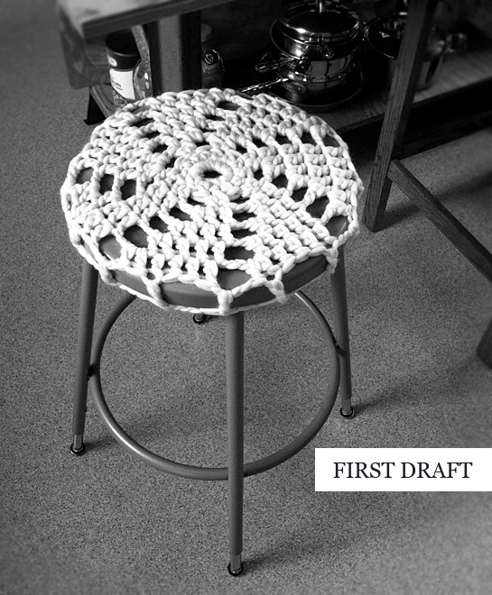 crochet covered industrial school stool