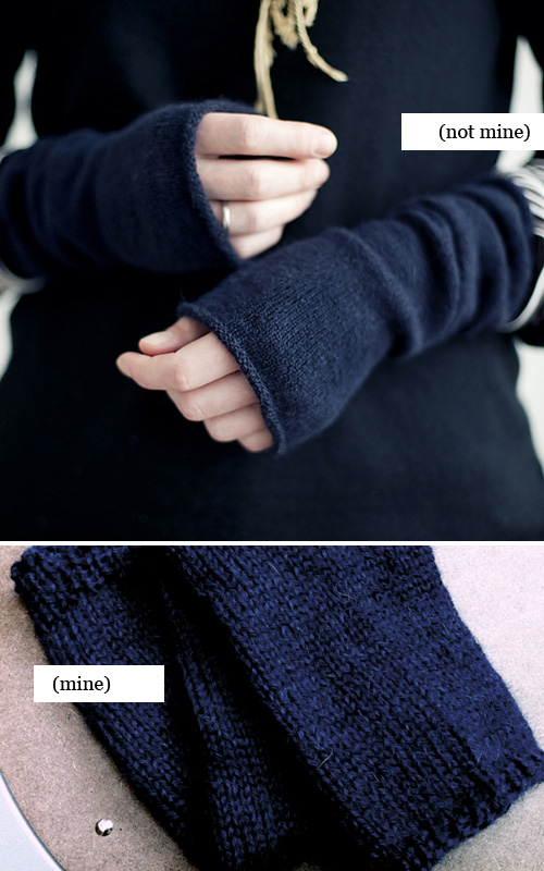 navy blue knitted wristwarmers